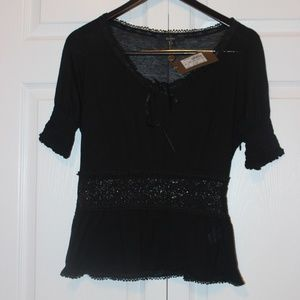 GUCCI Black Silk Blouse With Lace MidSection